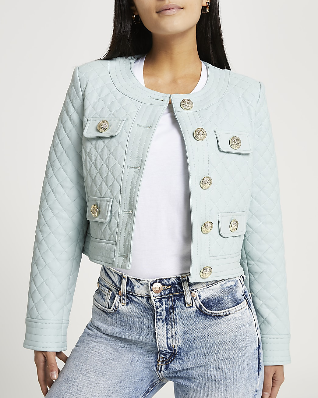 Petite green faux leather quilted jacket