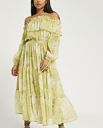 Petite green floral bardot maxi dress