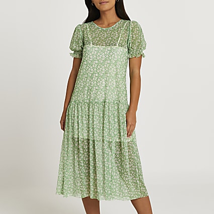 Petite green floral print smock midi dress