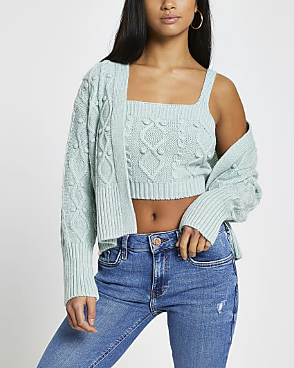 Petite green knitted cardigan and bralet set