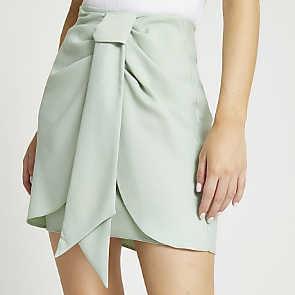 Petite green knotted wrap skirt