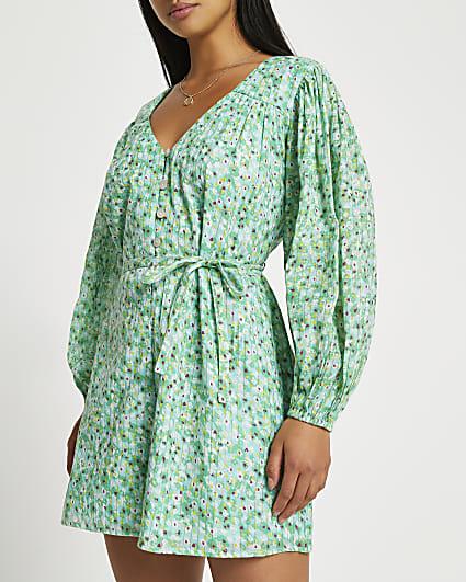 Petite green long sleeve printed playsuit