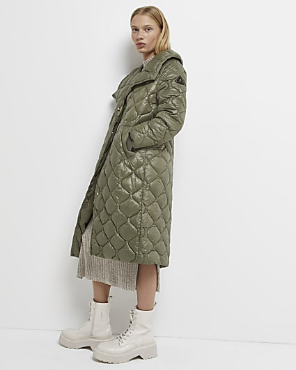 Petite green longline quilted coat