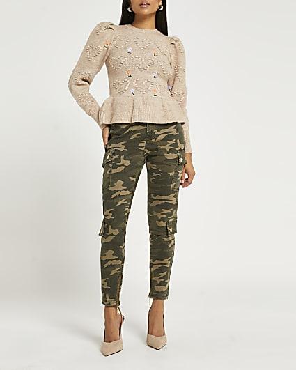 Petite green mid rise bum sculpt skinny jeans