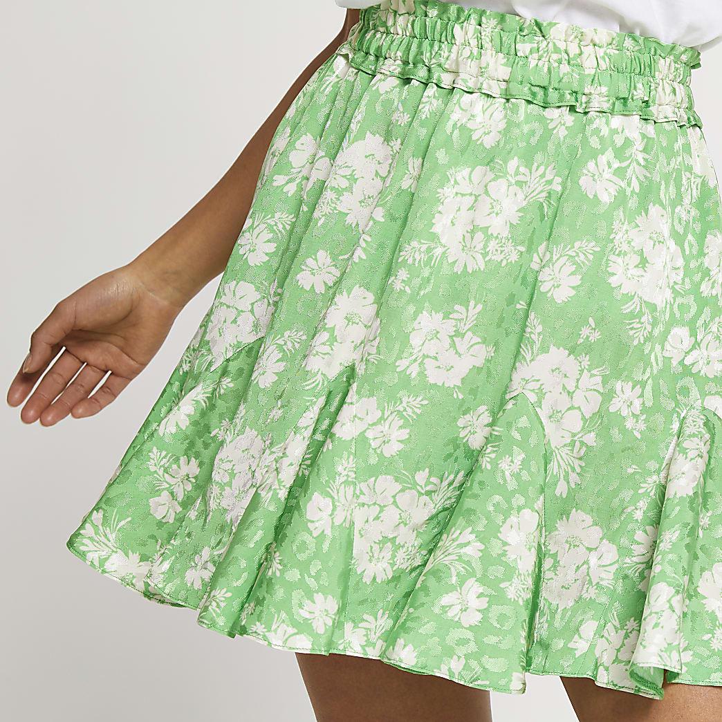 Petite green mini floral flounce skirt