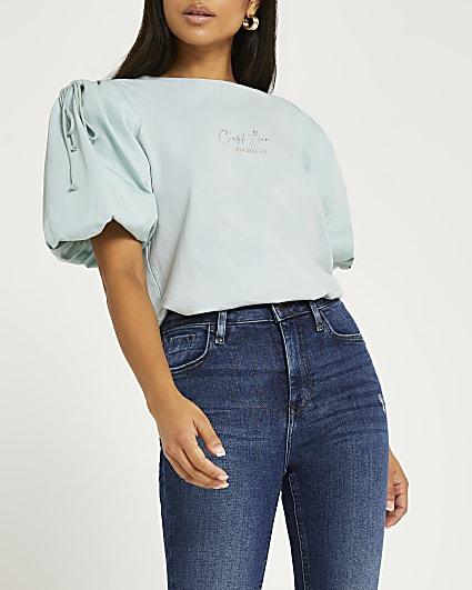 Petite green puff sleeve t-shirt