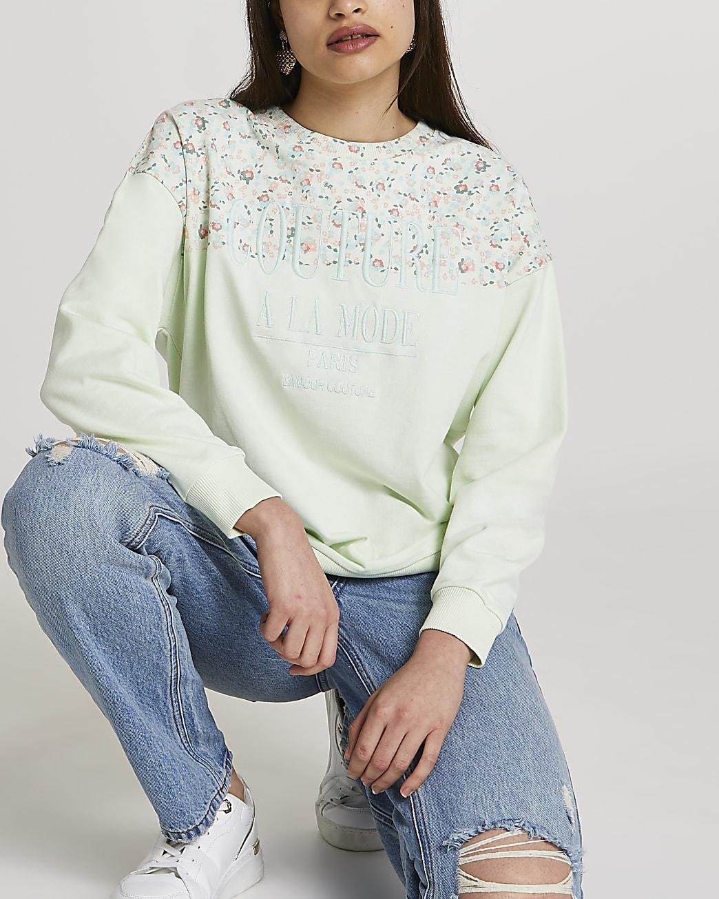 Petite green RI couture floral sweatshirt