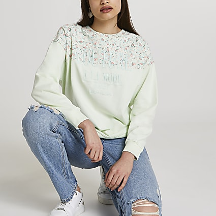 Petite green RI couture floral sweatshirt