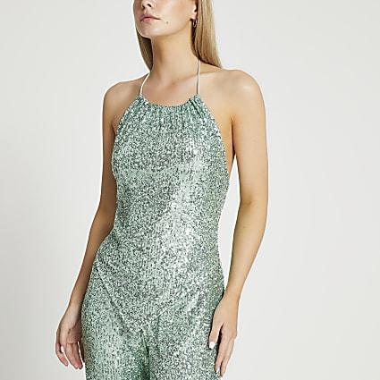 Petite green sequin halter neck top