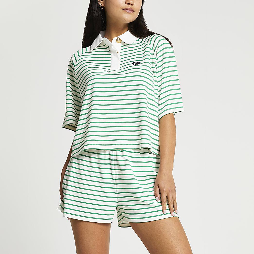 Petite green short sleeve stripe polo top
