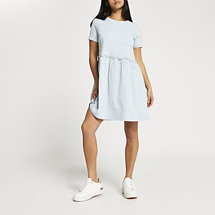 Petite green short sleeve t-shirt smock dress
