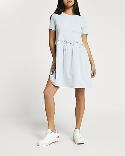 Petite green short sleeve t-shirt smock dress
