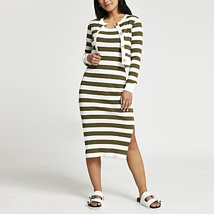 Petite green stripe midi dress and cardi set
