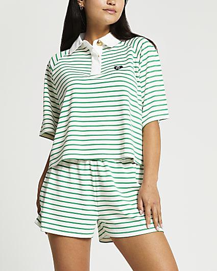 Petite green stripe polo top