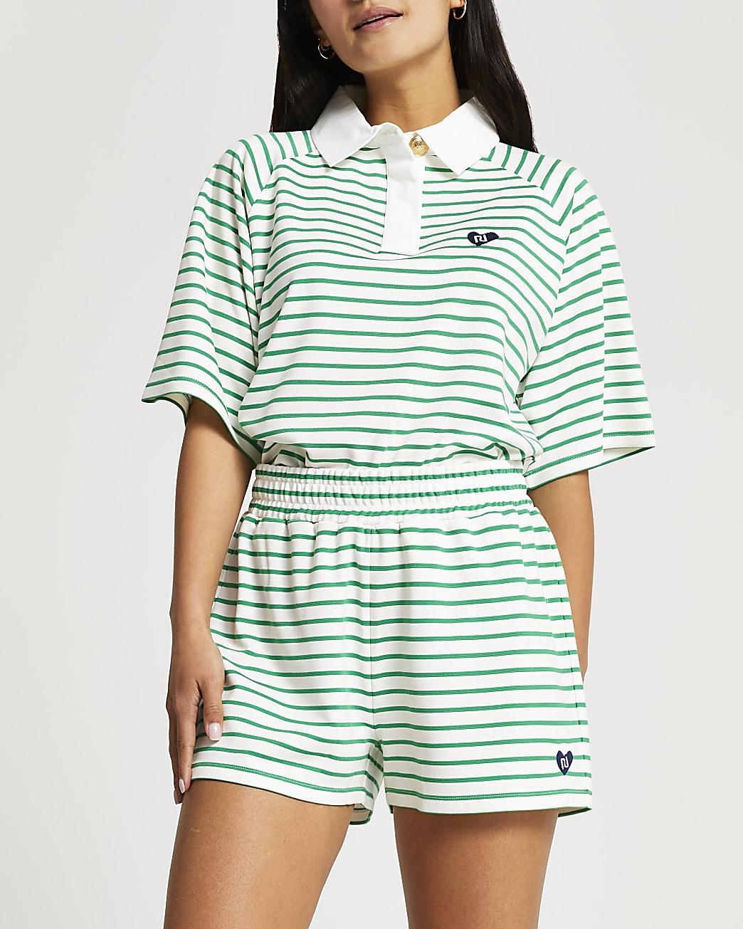 Petite green stripe shorts