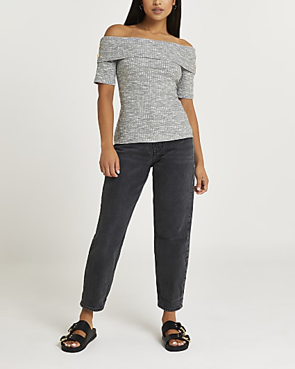 Petite grey bardot top