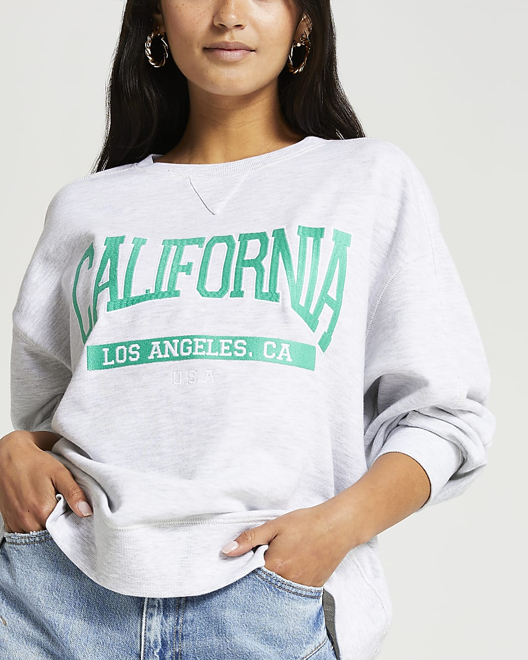 Petite grey California oversized sweatshirt