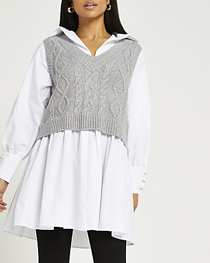 Petite grey chunky cable knitted shirt dress