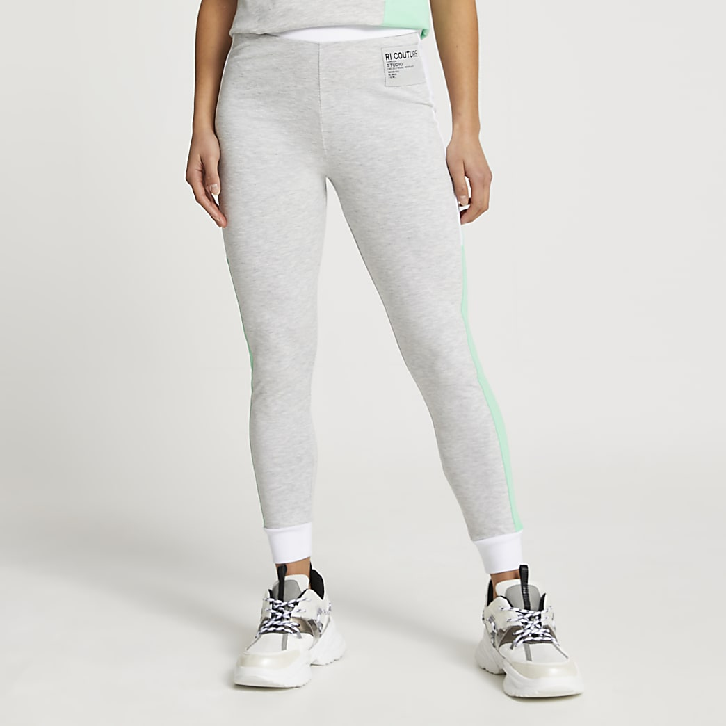 Petite grey colour block leggings