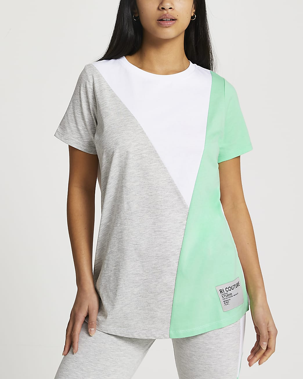 Petite grey diagonal blocked t-shirt