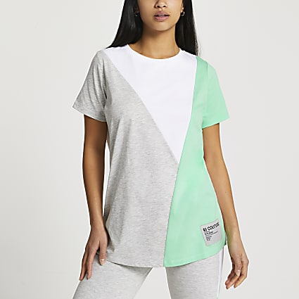 Petite grey diagonal blocked t-shirt