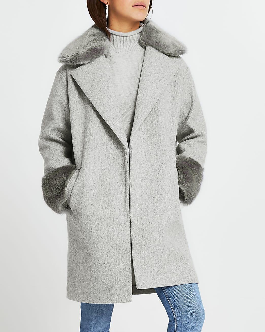 Petite grey faux fur collar hem coat