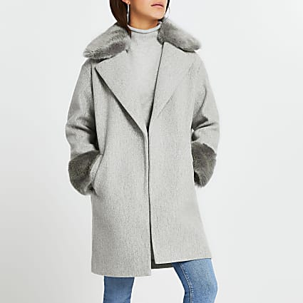 Petite grey faux fur collar hem coat