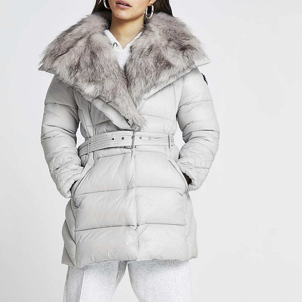 Petite grey faux fur padded coat