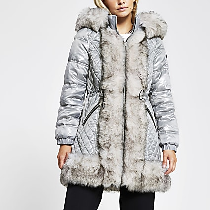 Petite grey faux fur padded hooded coat