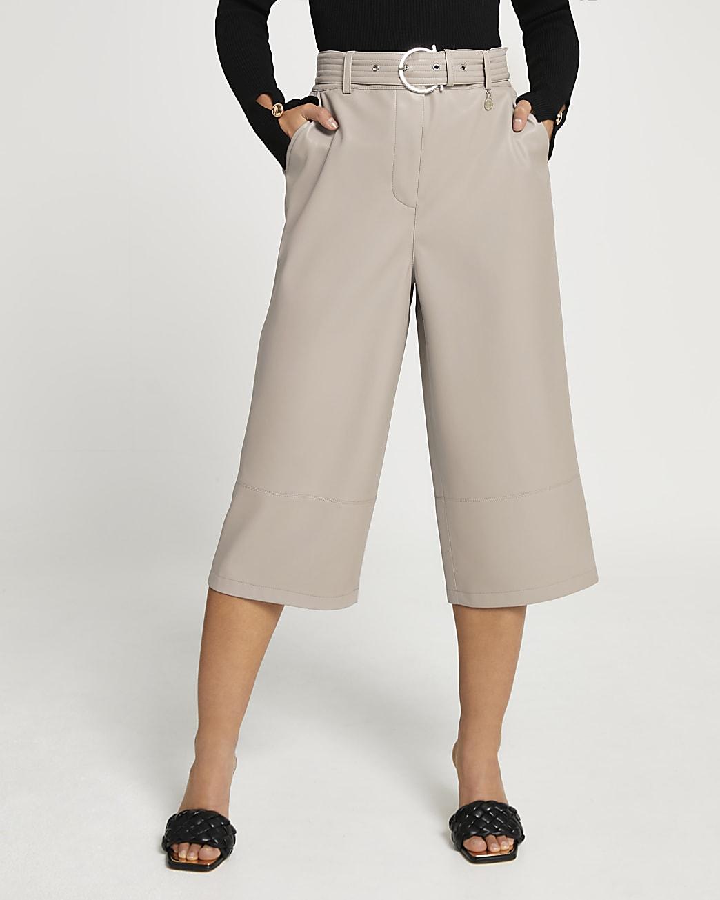 Petite grey faux leather wide leg culottes
