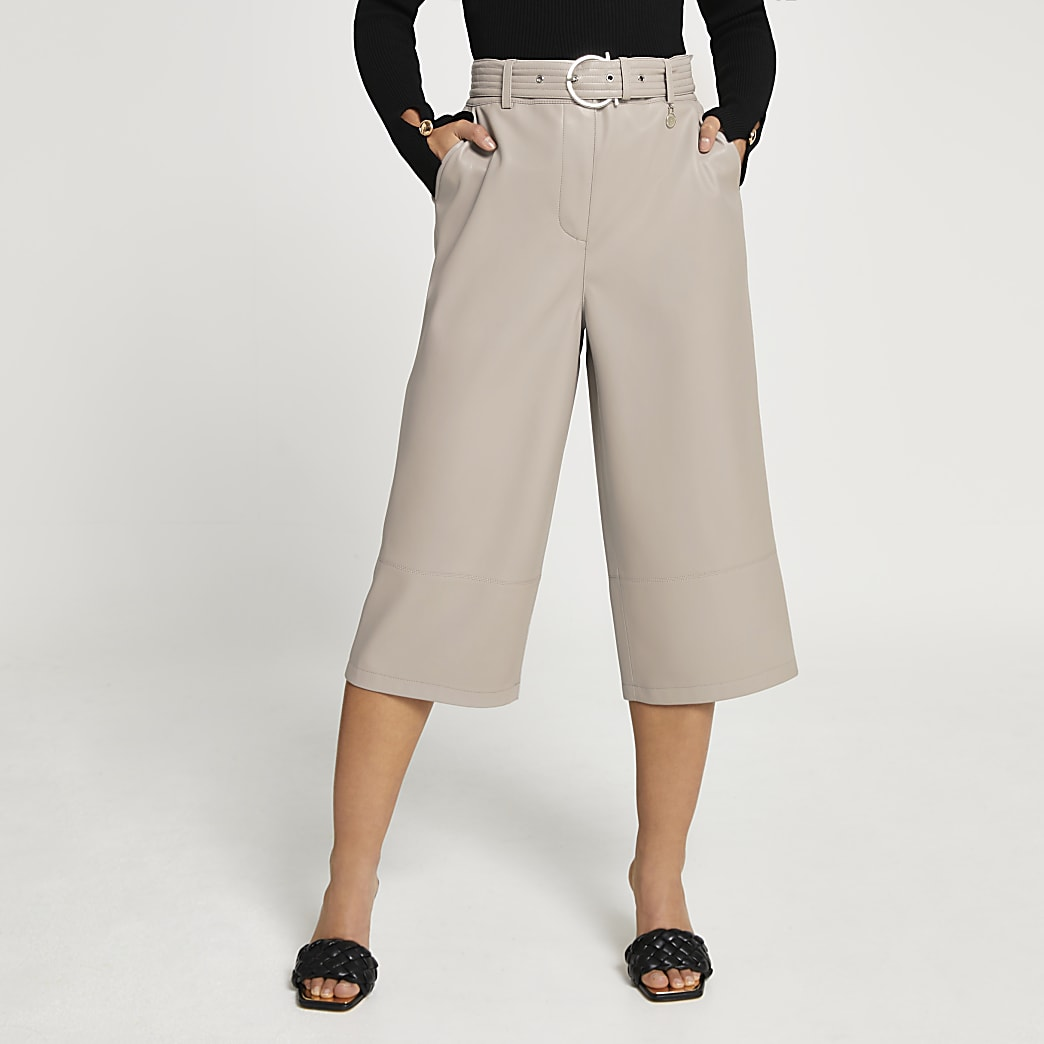 Petite grey faux leather wide leg culottes