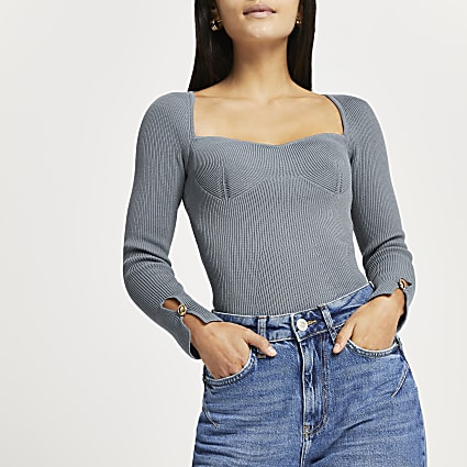 Petite grey fitted bustier long sleeve top
