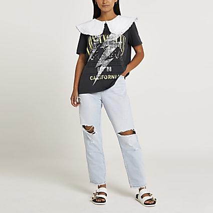 Petite grey graphic collar frill t-shirt