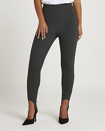 Petite grey high waisted stirrup leggings
