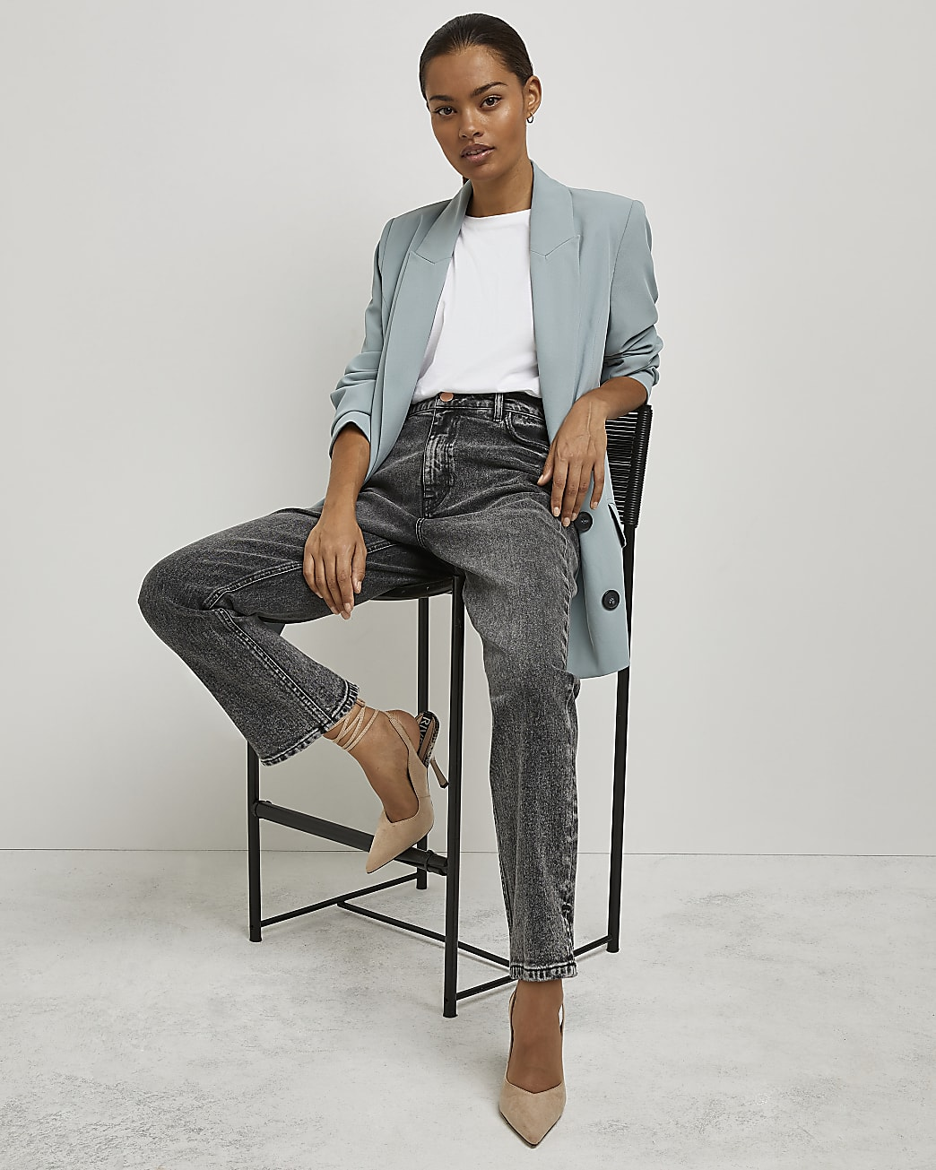 Petite grey high waisted straight jeans