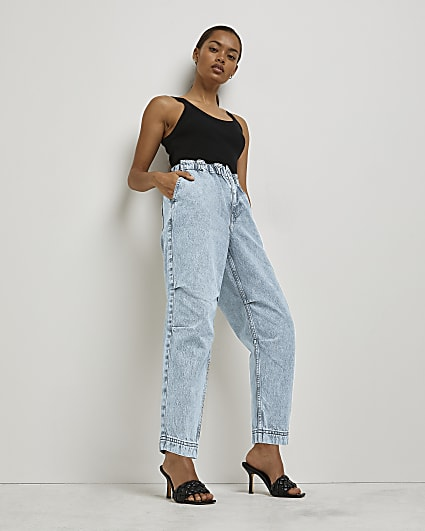 Petite grey high waisted tapered jeans