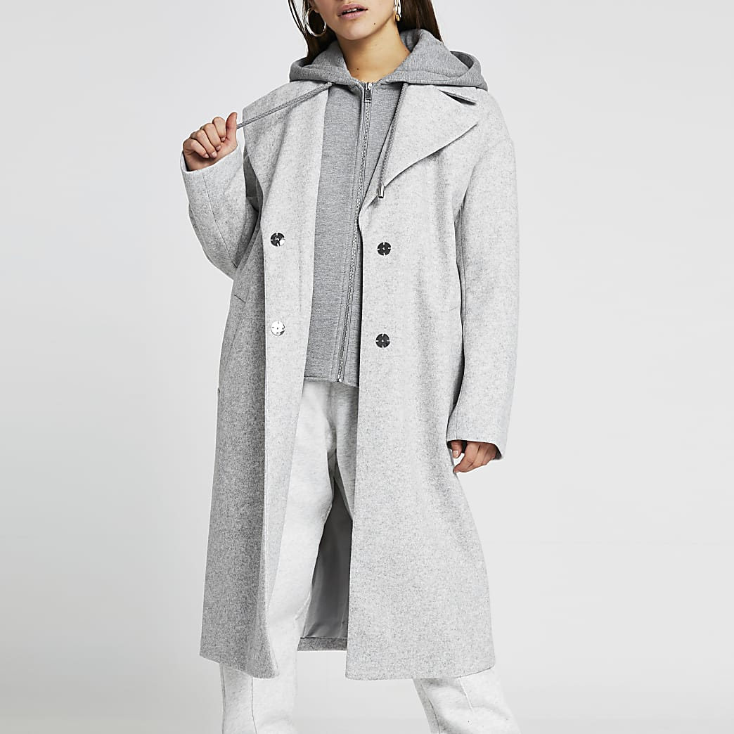 Petite grey hooded long line coat