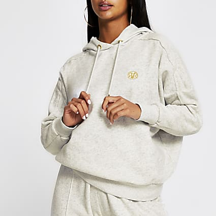 Petite grey long sleeve seam detail hoodie
