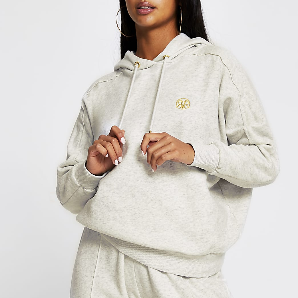 Petite grey long sleeve seam detail hoody