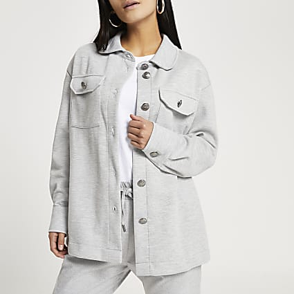 Petite grey long sleeve shacket
