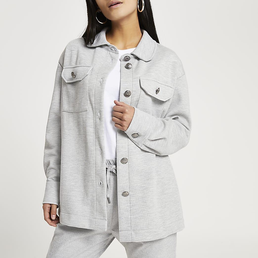Petite grey long sleeve shacket