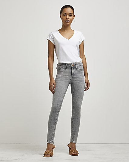 Petite grey Molly mid rise skinny jeans