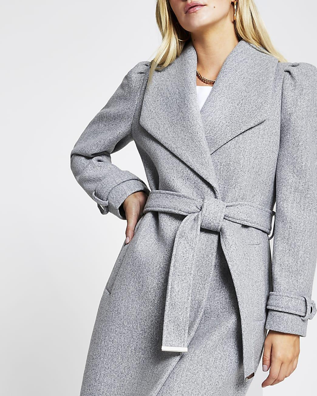 Petite grey puff sleeve belted robe coat