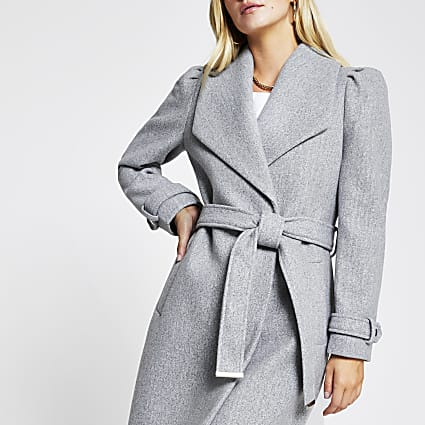 Petite grey puff sleeve belted robe coat