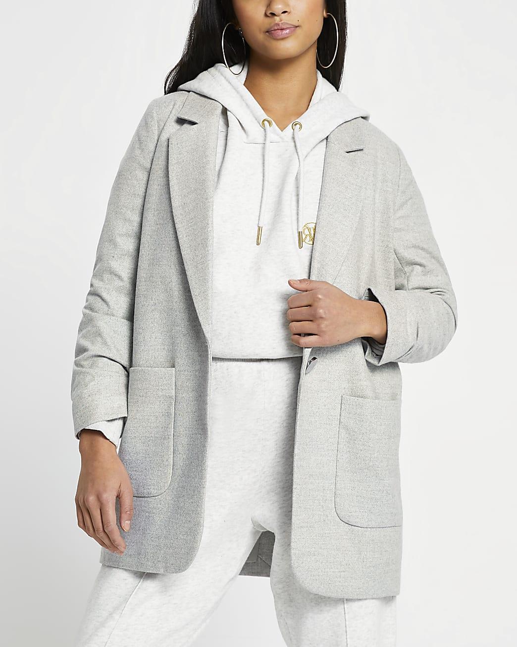 Petite grey relaxed patch pocket blazer