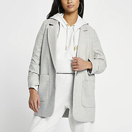 Petite grey relaxed patch pocket blazer