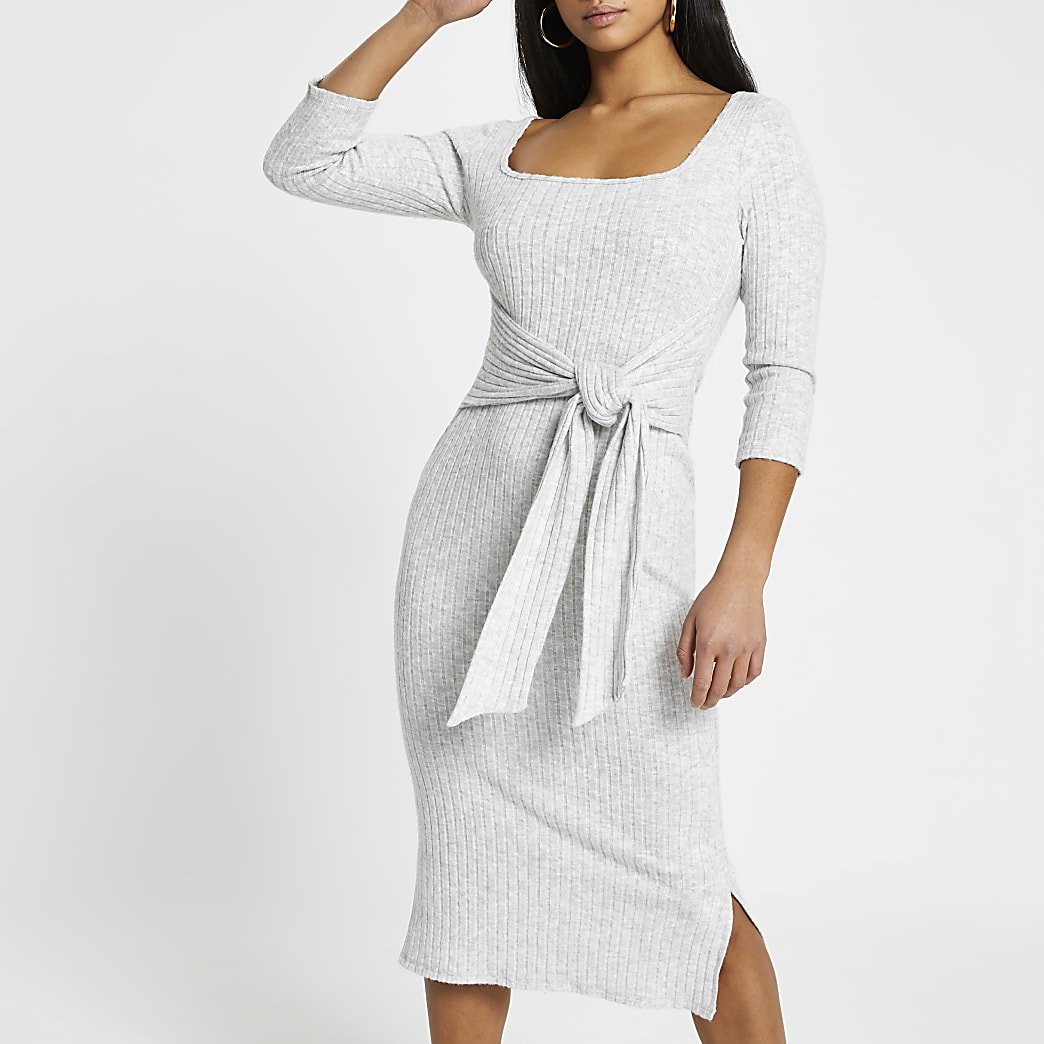 Petite grey ribbed knot waist dress