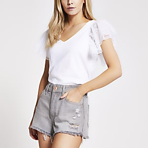 Petite grey ripped mid rise denim shorts