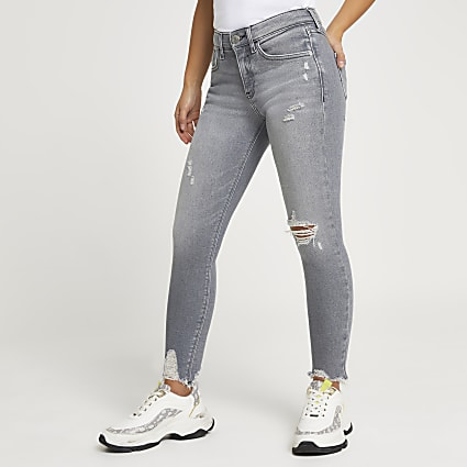Petite Grey ripped mid rise skinny jeans