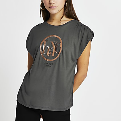 Petite grey ruched shoulder t-shirt